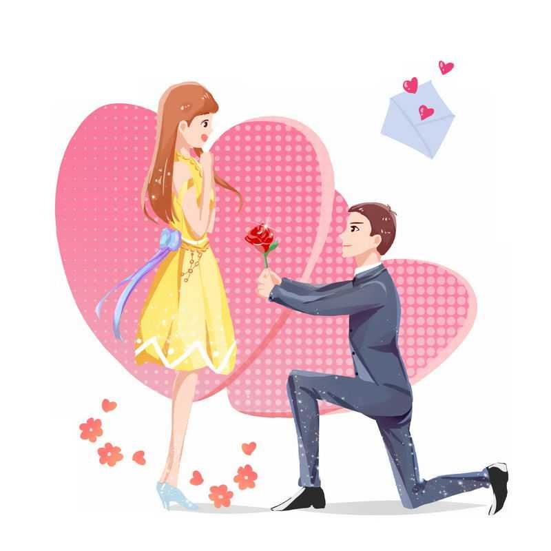 单膝下跪献花向女朋友献花的男孩求婚手绘插画1697057图片免抠素材