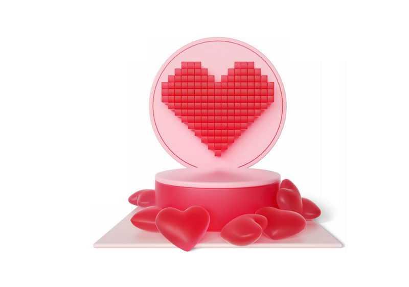 3D立体粉色心形气球舞台展台情人节2298180图片免抠素材