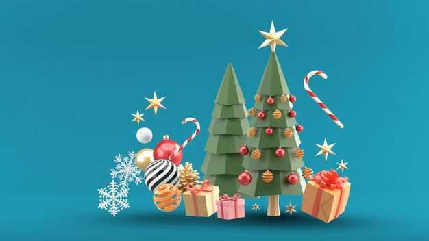 3D立体风格圣诞树圣诞礼物等装饰4772781免抠图片素材