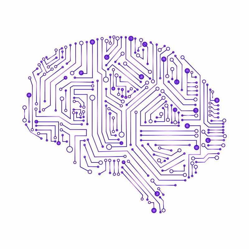 紫色电路线条圆点组成的大脑形状电路板1962271ai矢量图片免抠素材