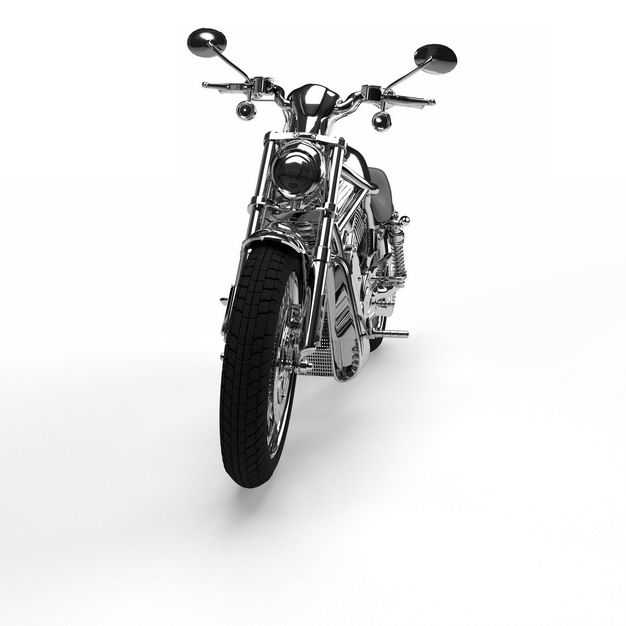 一辆不锈钢的运动摩托车重机车正面图9018703免抠图片素材