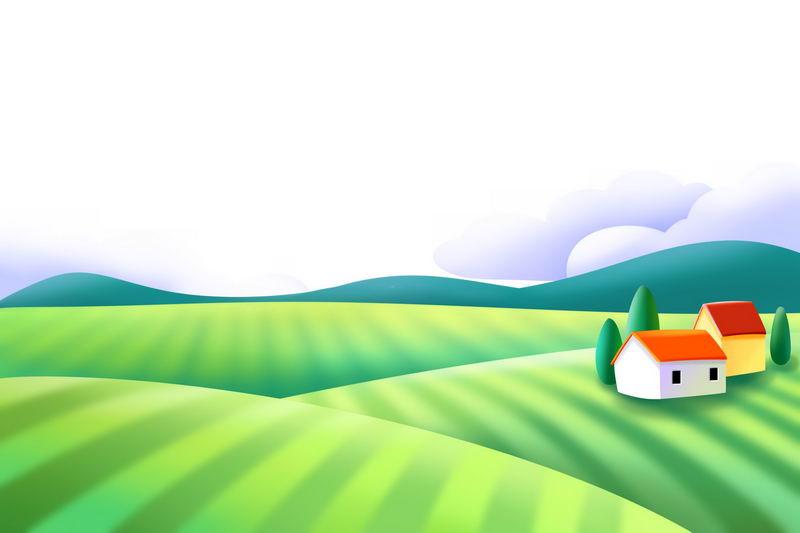 卡通风格乡村田园风光图3088362图片免抠素材 生物自然-第1张