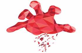 红色多边形三角形组成的一只大手1947777ai矢量图片免抠素材