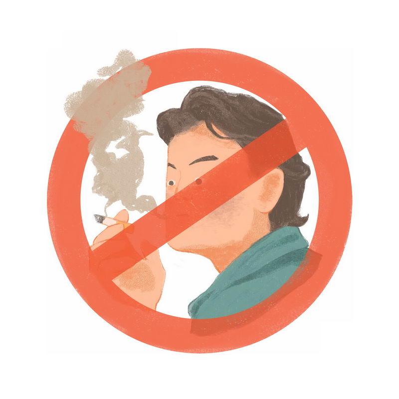 禁止抽烟卡通宣传插画3042559图片免抠素材 健康医疗-第1张