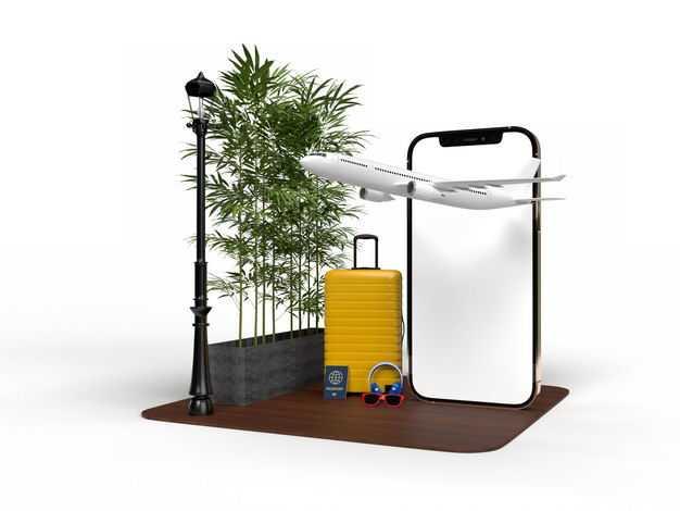 手机显示样机和飞机旅行箱绿色植物路灯等热带旅游元素5594277免抠图片素材