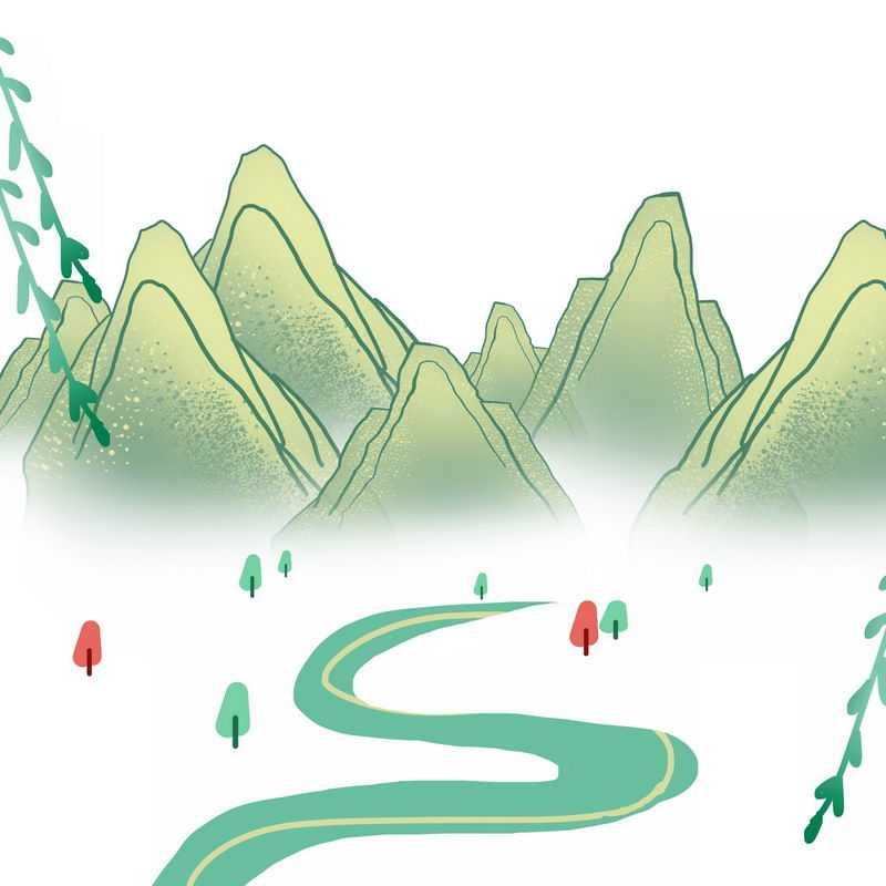 春天远处的青山手绘风景画4849146图片免抠素材