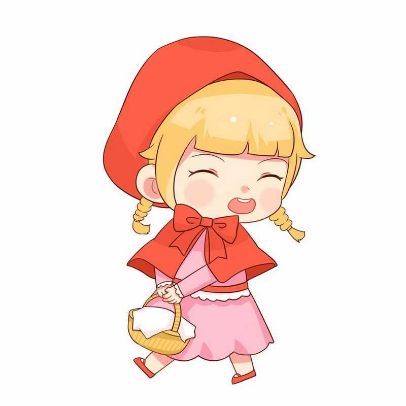 可爱小红帽提着篮子卡通小女孩童话人物插画7885422图片免抠素材