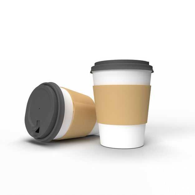 两个星巴克一次性隔热加厚牛皮纸防烫双层纸杯子咖啡杯奶茶杯6163484免抠图片素材