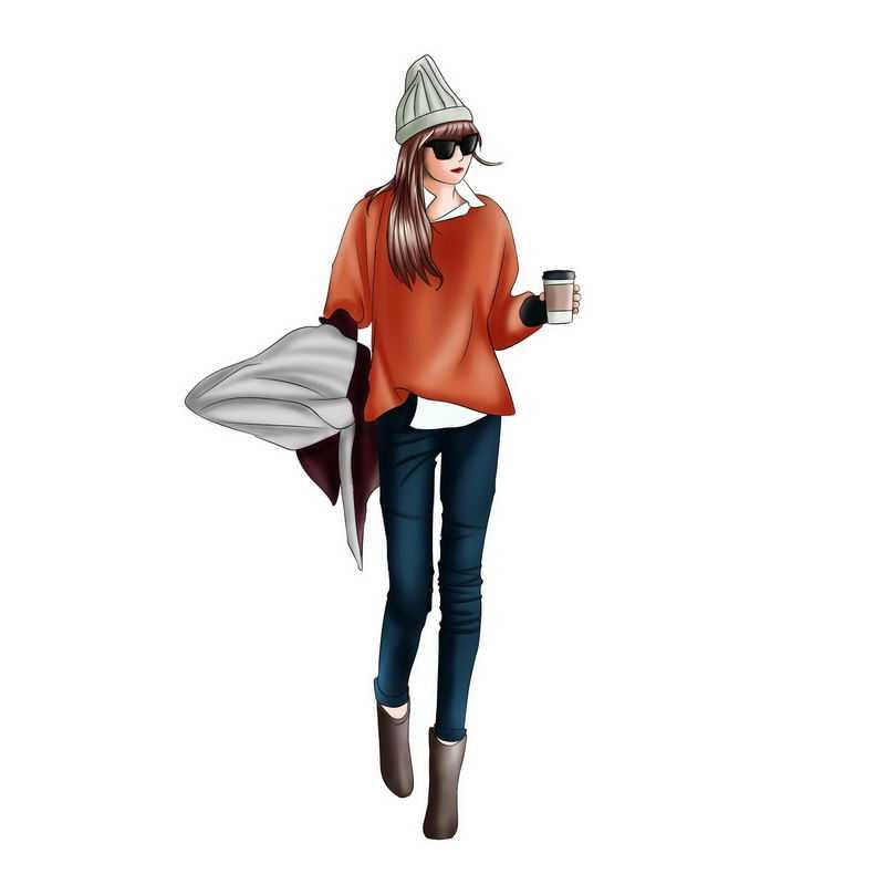 头戴毛线帽子红色上衣和牛仔裤的女孩拿着咖啡手绘插画5115951PSD图片免抠素材