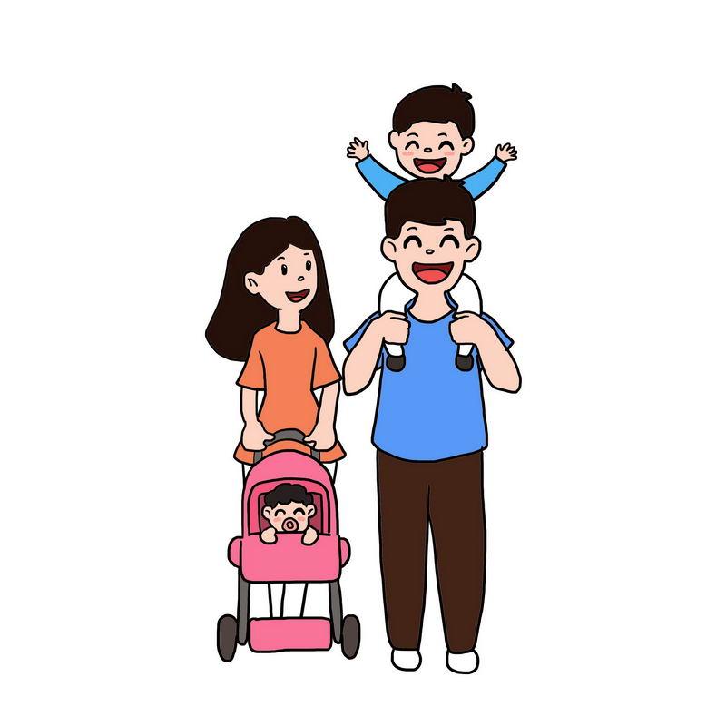 快乐的卡通一家四口手绘插画7148293图片免抠素材 人物素材-第1张