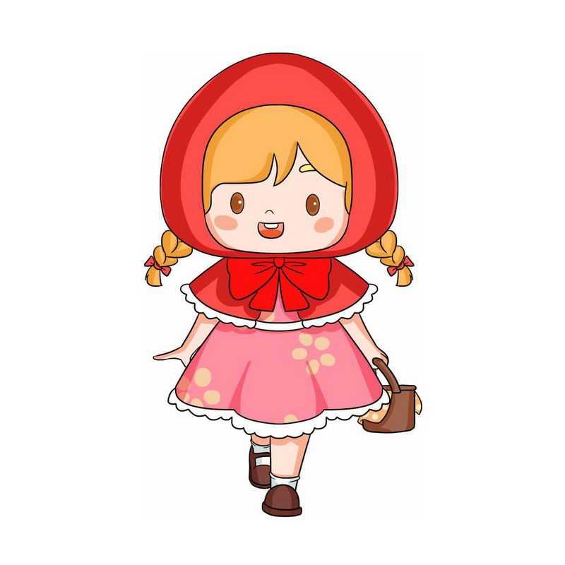 黄点红裙子小红帽卡通小女孩童话人物插画0843785图片免抠素材