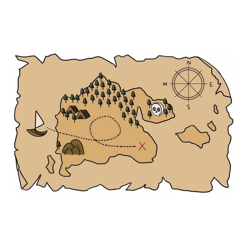一张手绘复古风格的寻宝图藏宝图地图3555508图片免抠素材 休闲娱乐-第1张