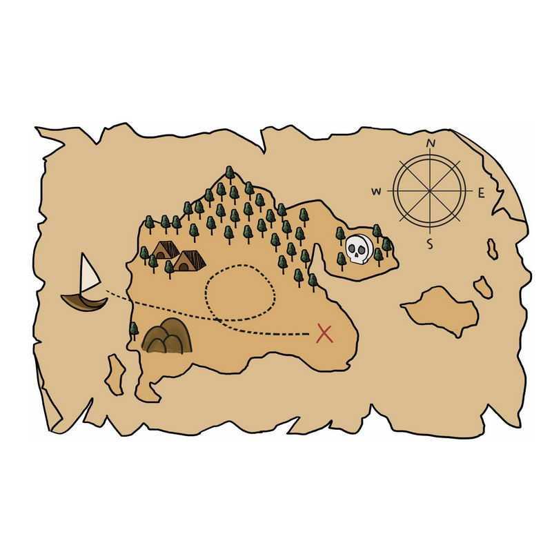 一张手绘复古风格的寻宝图藏宝图地图3555508图片免抠素材