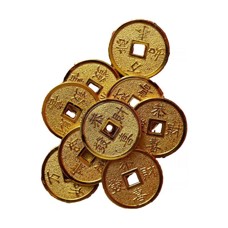 一堆金币恭喜发财万事如意新年春节铜币装饰7736497png图片免抠素材 节日素材-第1张
