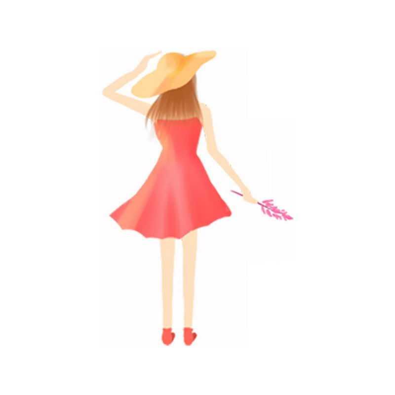 戴草帽身穿红色裙子的女孩背影手绘插画8306764PSD图片免抠素材
