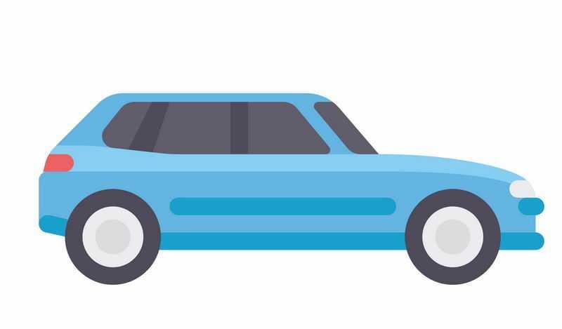 扁平化风格卡通蓝色SUV汽车侧视图8277450ai矢量图片免抠素材