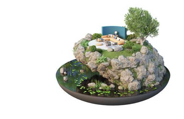 3D立体风格湖边的旅游景点豪华别墅民宿装修效果图5506794免抠图片素材