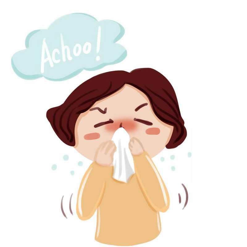 卡通女人用纸巾擦鼻涕感冒生病插画1770100图片免抠素材
