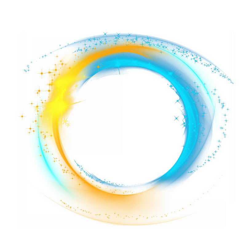 黄色蓝色的螺旋发光光芒效果4701804png图片免抠素材