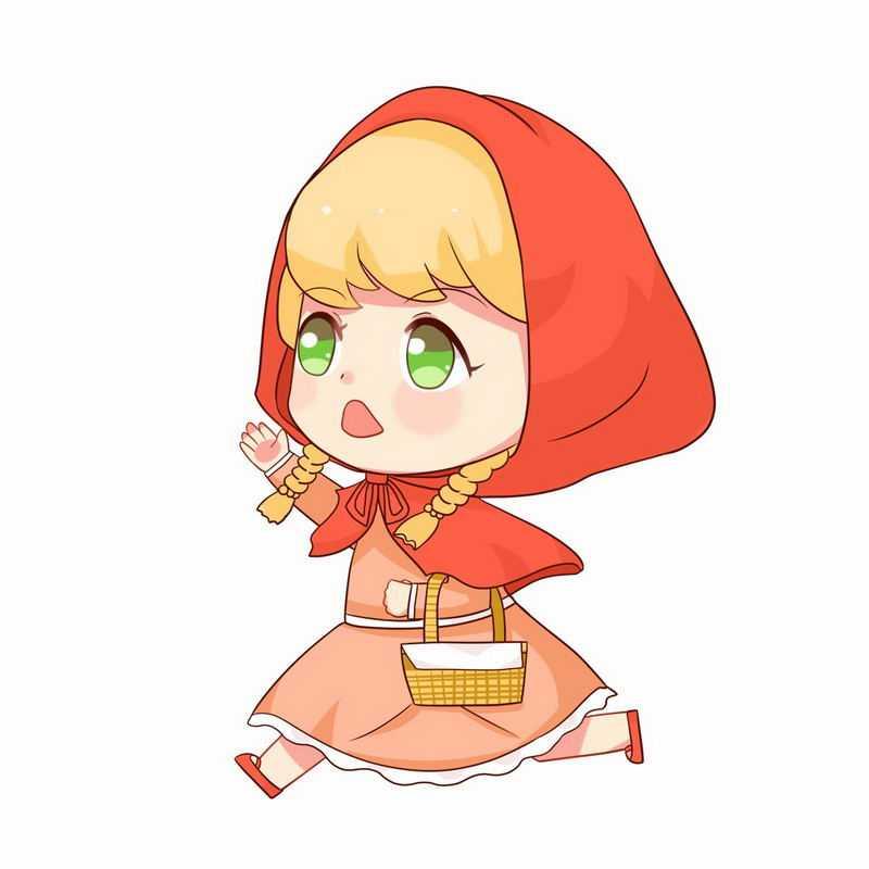 提着篮子奔跑的小红帽卡通小女孩童话人物插画8943552图片免抠素材