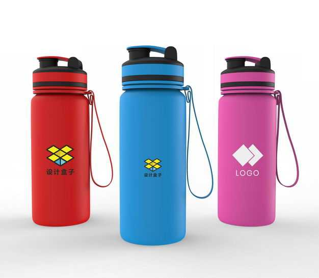 三款彩色304不锈钢真空保温杯运动水壶包装显示样机3755671免抠图片素材