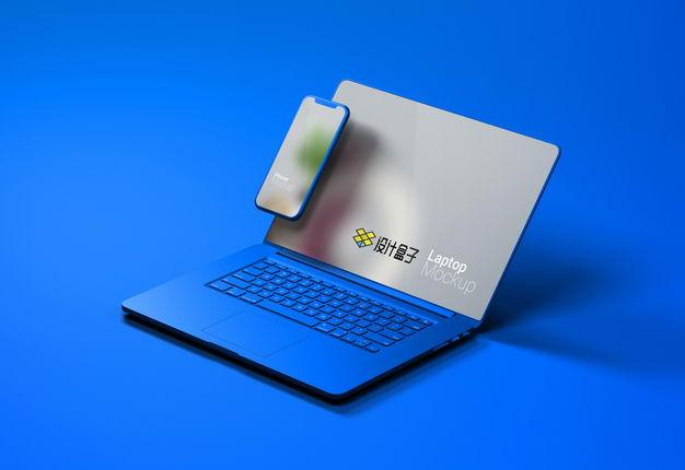 很有设计感的蓝色笔记本电脑和手机显示样机2853412免抠图片素材 样机-第1张