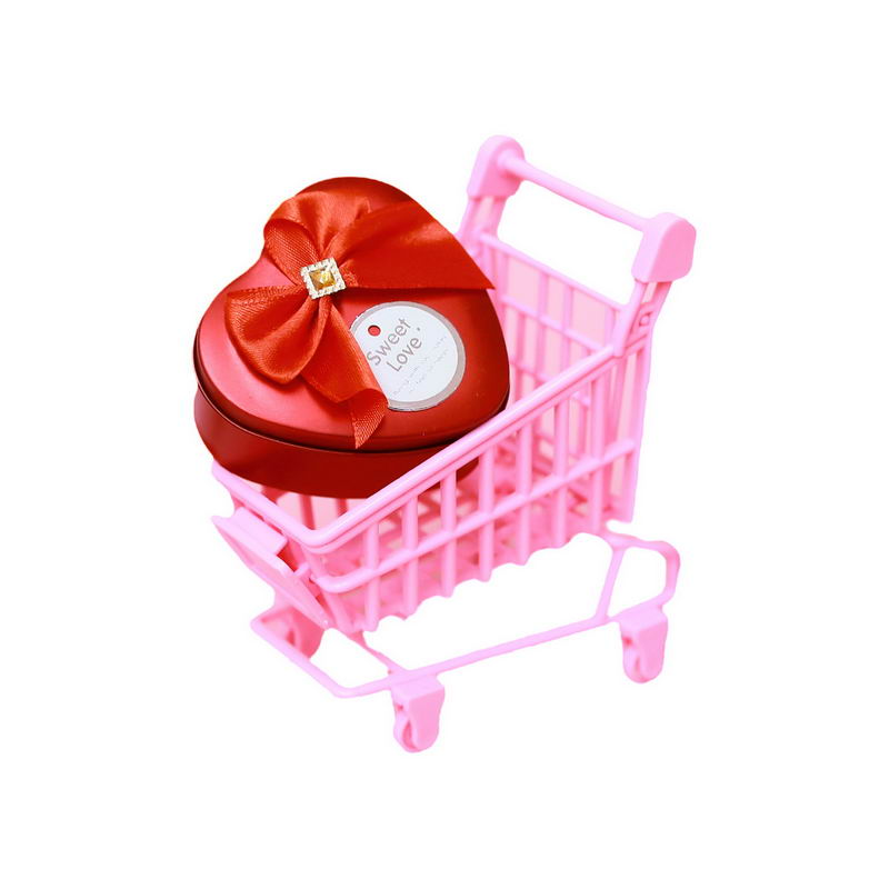 粉色卡通超市小推车上的红心礼物盒情人节礼物3199483png图片免抠素材 电商元素-第1张