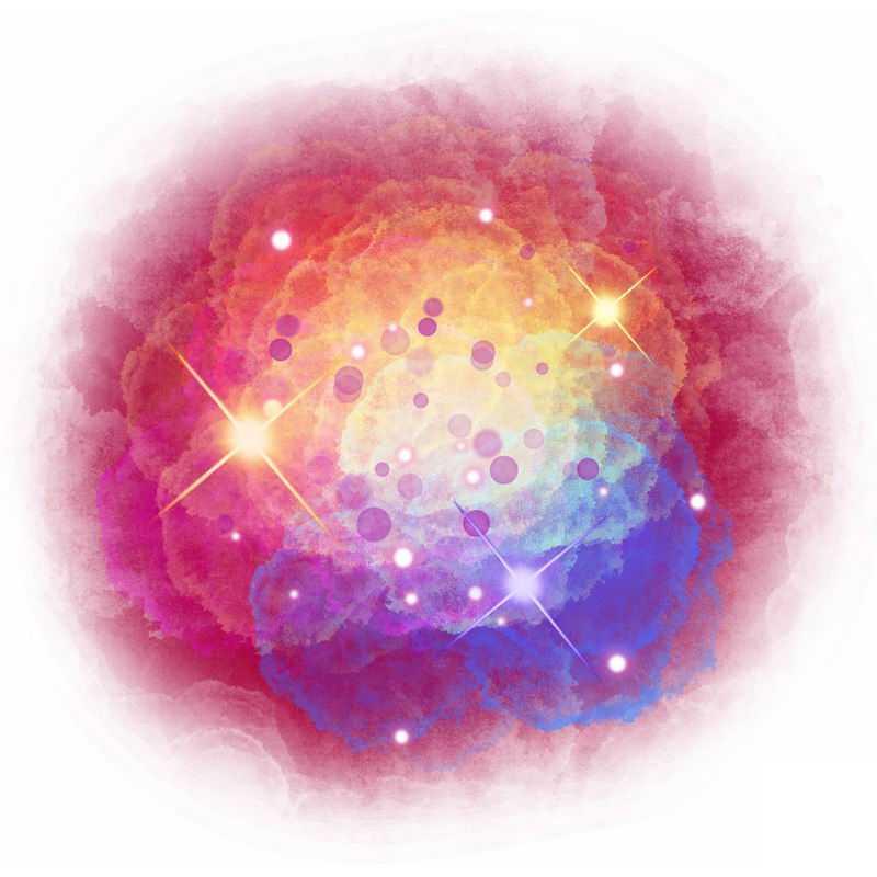 绚丽多彩的星云星空水彩插画1361033图片免抠素材