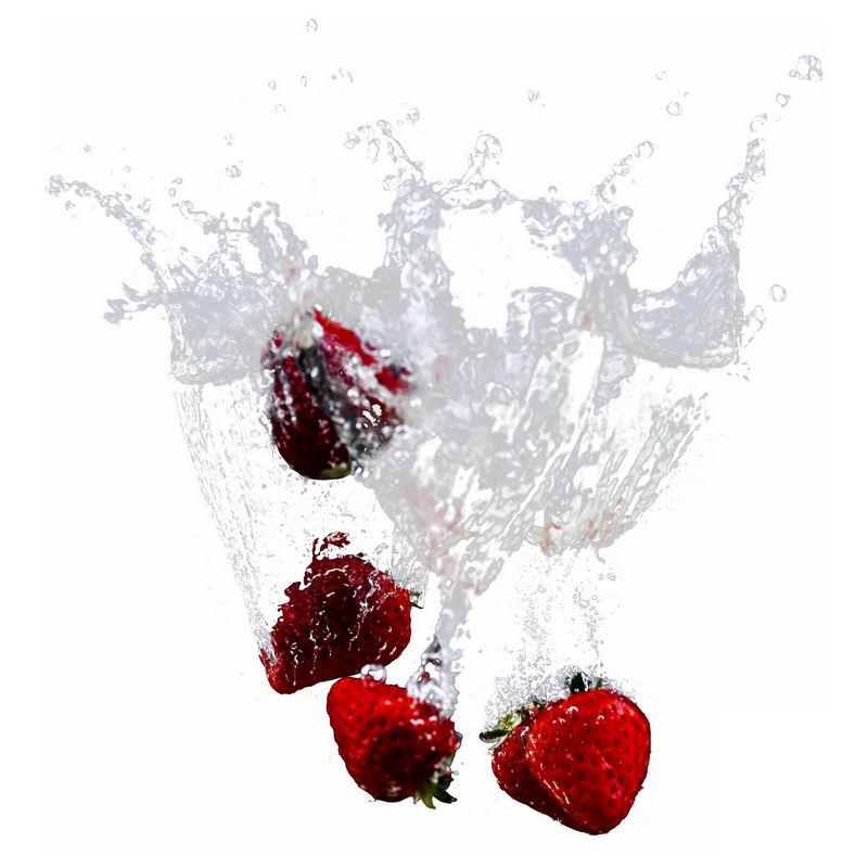 草莓掉落水中飞溅起来的半透明水花浪花水效果5166318png图片免抠素材 效果元素-第1张