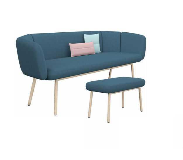 简约风格双人沙发布艺沙发和沙发凳2005262免抠图片素材