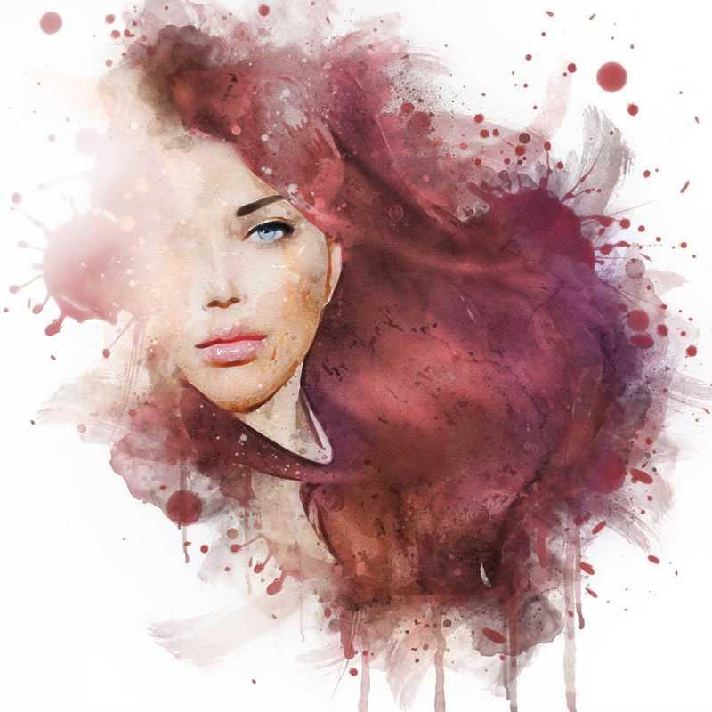 泼墨风格抽象红发美女头像7636484图片免抠素材