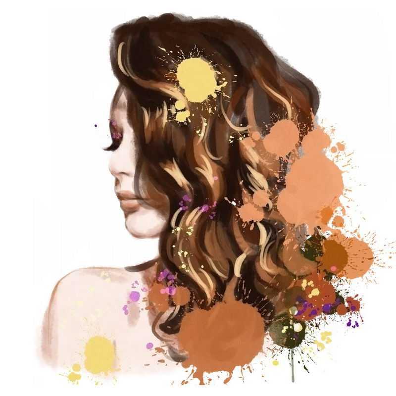 泼墨风格抽象褐色头发美女头像5459265图片免抠素材
