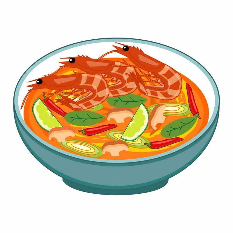 一碗麻辣鲜虾面手绘美食3829488矢量图片免抠素材