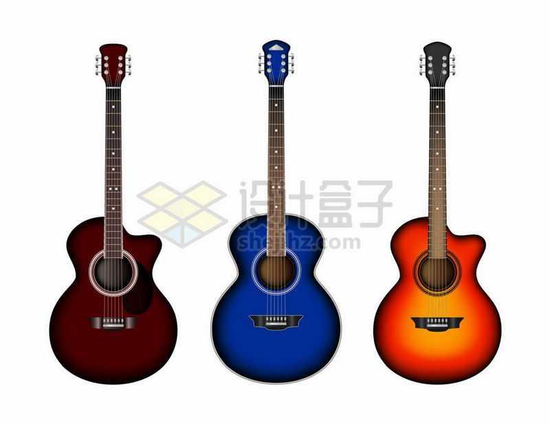 3款彩色的吉他音乐乐器9843472矢量图片免抠素材