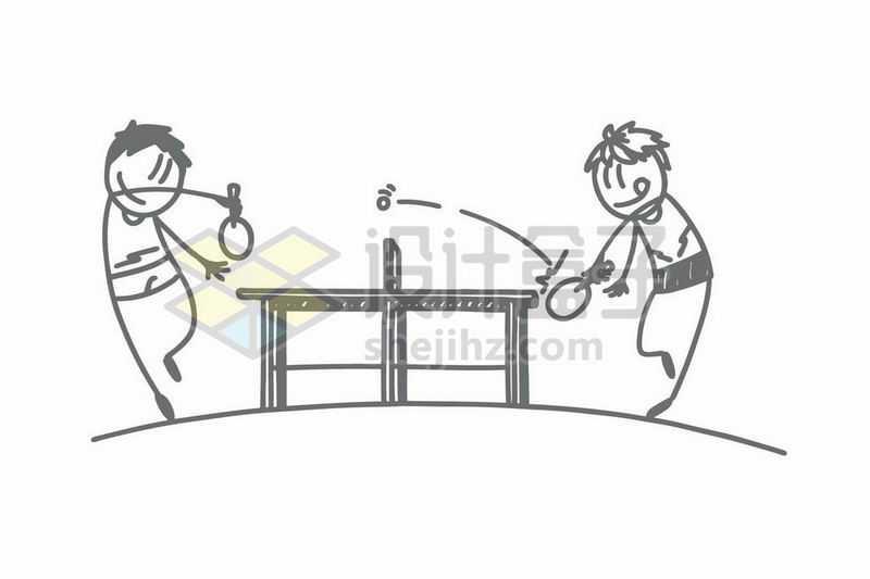 打乒乓球的卡通小人儿手绘涂鸦插画8339210矢量图片免抠素材