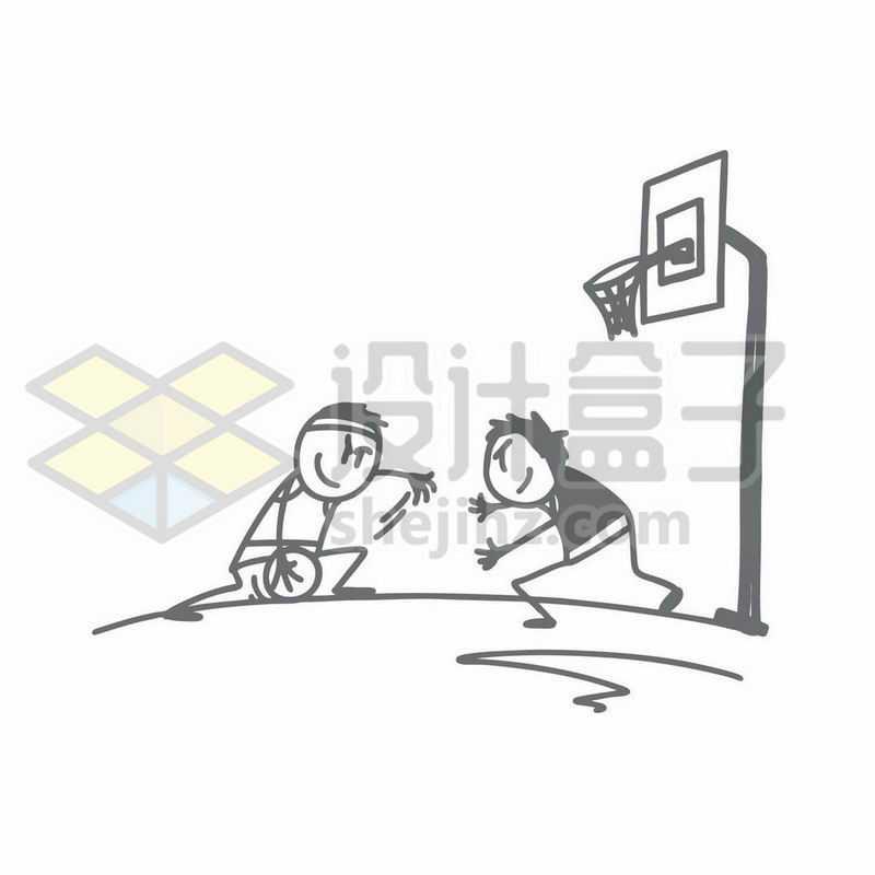 打篮球进攻和防守的卡通小人儿手绘涂鸦插画5168428矢量图片免抠素材