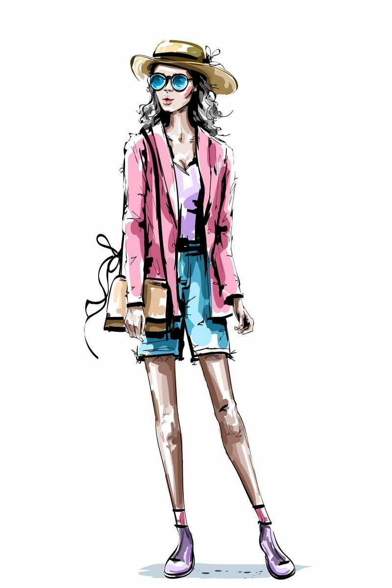 粉色小西装和蓝色短裤的长腿美女手绘插画2800444图片免抠素材