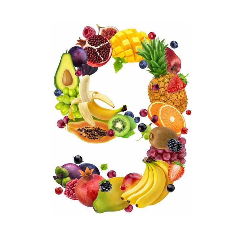 水果组成的数字9牛油果李子石榴无花果芒果菠萝香蕉等4016796免抠图片素材