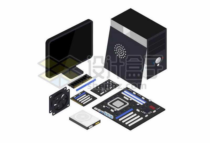 3D风格台式机电脑机箱显示器主板显卡硬盘等4617610矢量图片免抠素材