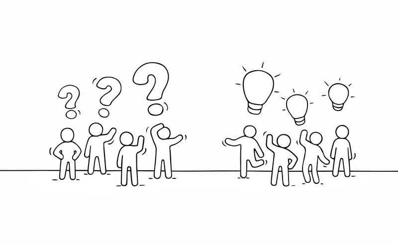 卡通小白人和象征问题的问号以及象征点子的电灯泡插画5023047图片免抠素材
