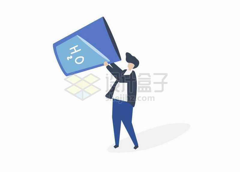 卡通男人抱着水杯喝水手绘插画2827948矢量图片免抠素材