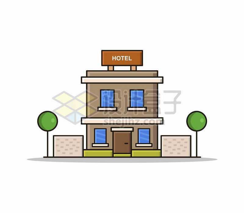 MBE风格卡通酒店二层小楼建筑8058927矢量图片免抠素材