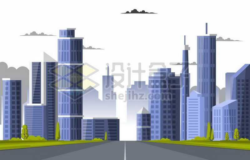 紫色扁平化风格城市建筑高楼大厦城市天际线5576763矢量图片免抠素材
