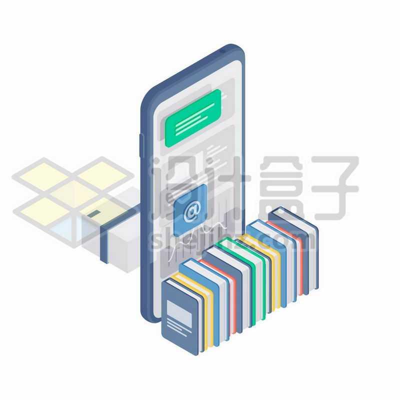 2.5D风格手机和书籍象征了网上阅读APP5431239矢量图片免抠素材