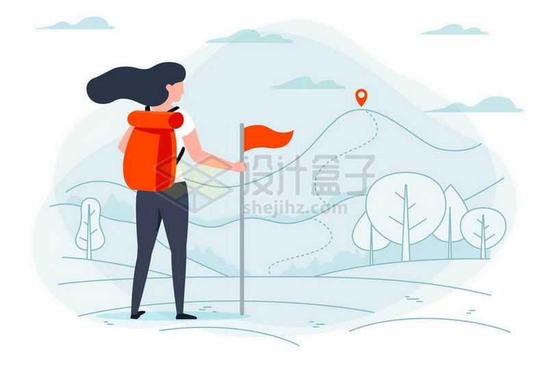 手绘插画风格女人背着登山包准备户外旅行6317883矢量图片免抠素材