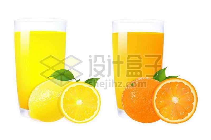 两杯橙汁柠檬汁美味水果汁7898424矢量图片免抠素材