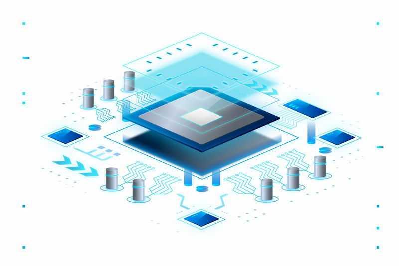 科技风格蓝色分层显示的处理器CPU和底座电路1669591矢量图片免抠素材