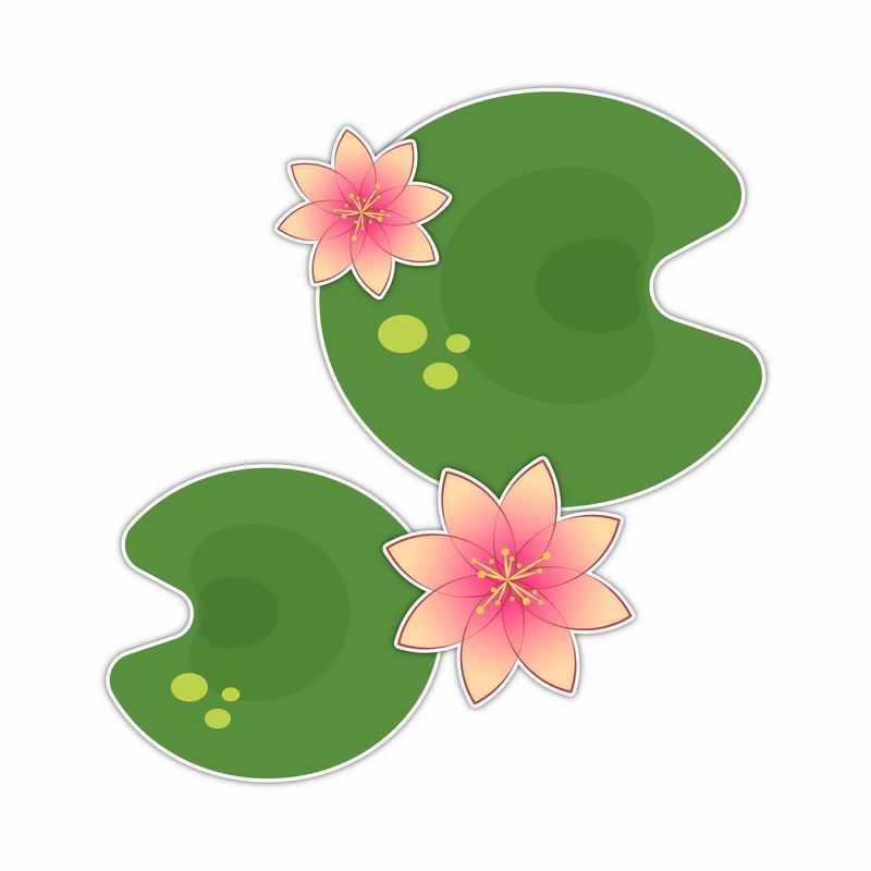 俯视视角的粉红色莲花和绿色莲叶简约插画9686896矢量图片免抠素材