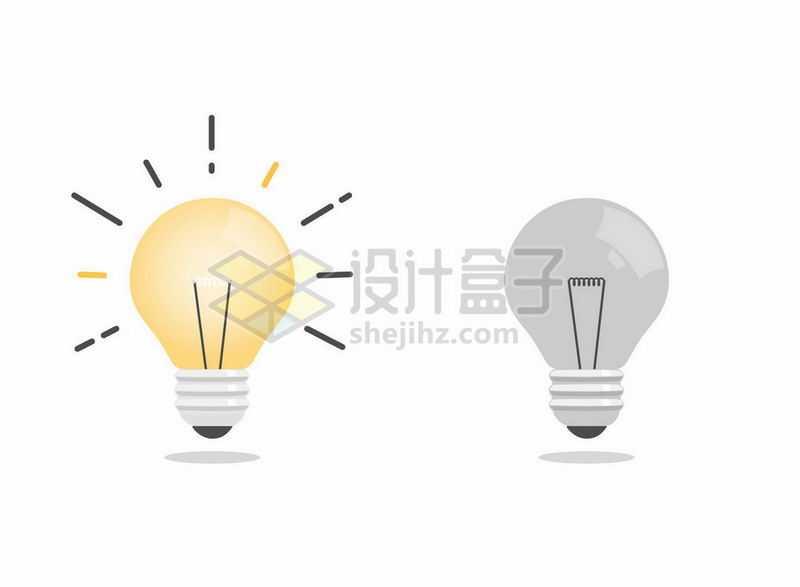 发光的卡通电灯泡和熄灭的电灯6313869矢量图片免抠素材