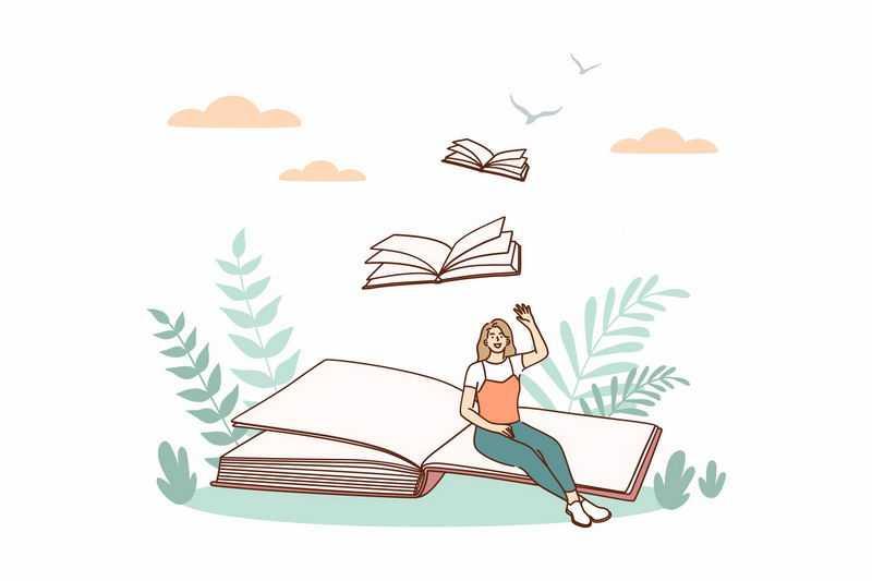 女孩坐在书本上书籍化身为鸟儿飞走了7281328图片免抠素材